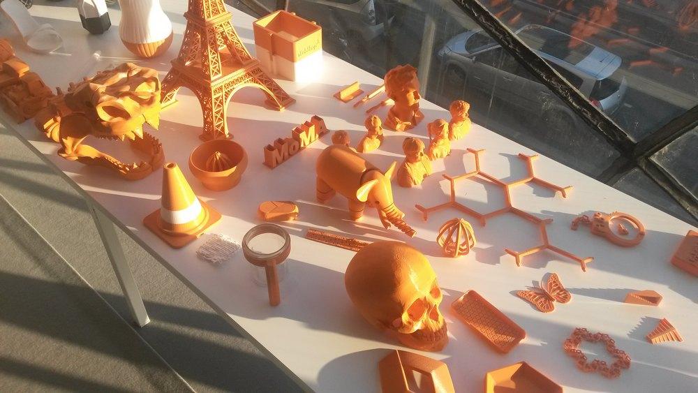 Exemples d'objets réalisés par impression 3D au FabLab du Pavillon de l'Arsenal