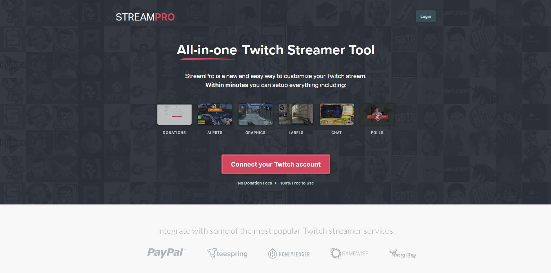 Page d'accueil de streampro.io